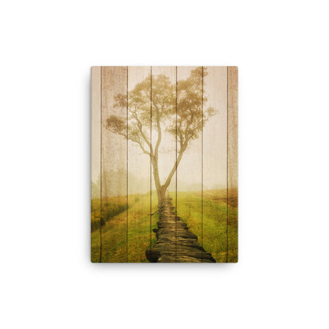 Faux Wood Calming Morning Rural Landscape Canvas Wall Art Prints