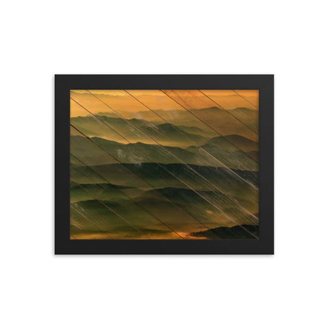 Faux Wood Foggy Mountain Layers at Sunset Rural Landscape Framed Photo Paper Wall Art Prints