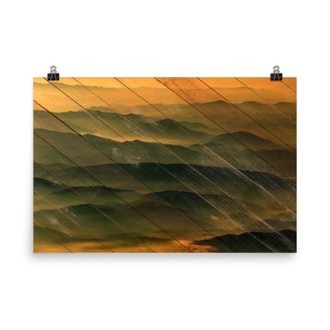 Faux Wood Foggy Mountain Layers at Sunset Rural Landscape Photo Loose Wall Art Prints