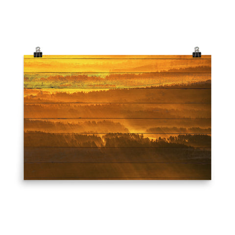 Faux Wood Golden Mist Valley - Hills & Mountain Range Landscape Photo Loose Wall Art Prints