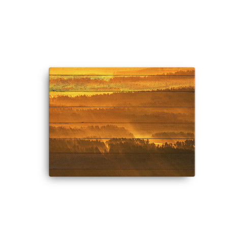 Faux Wood Golden Mist Valley - Hills & Mountain Range Rural Landscape Canvas Wall Art Prints