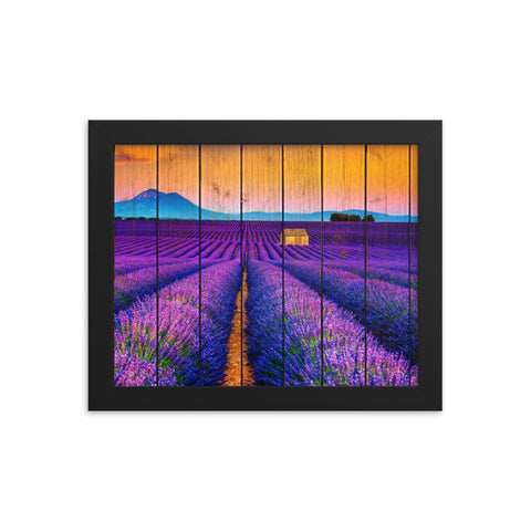 Faux Wood Lavender Fields and Sunset Landscape Framed Photo Paper Wall Art Prints