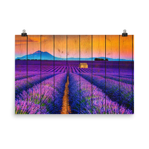 Faux Wood Lavender Fields and Sunset Landscape Photo Loose Wall Art Prints