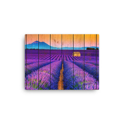 Faux Wood Lavender Fields and Sunset Rural Landscape Canvas Wall Art Prints
