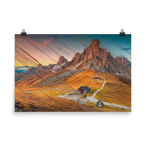 Faux Wood Majestic Sunset and Alpine Mountain Pass Landscape Photo Loose Wall Art Prints