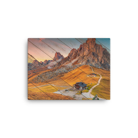 Faux Wood Majestic Sunset and Alpine Mountain Pass Canvas Wall Art Prints