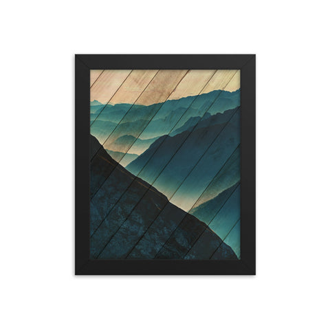 Faux Wood Misty Blue Silhouette Mountain Range Landscape Framed Photo Paper Wall Art Prints