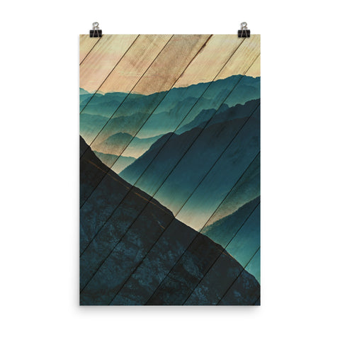 Faux Wood Misty Blue Silhouette Mountain Range Landscape Photo Loose Wall Art Print