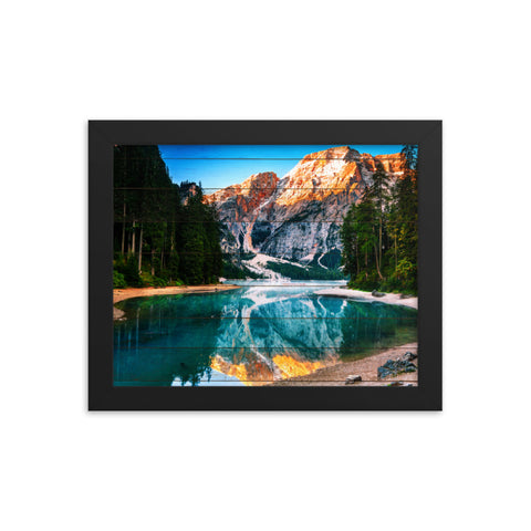 Faux Wood Misty Lake and Snow-cap Mountain Reflections Framed Photo Paper Wall Art Prints