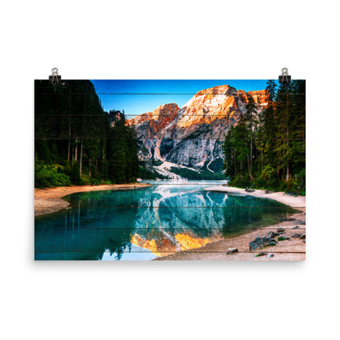 Faux Wood Misty Lake & Snowcap Mountain Reflections Loose Wall Art Prints