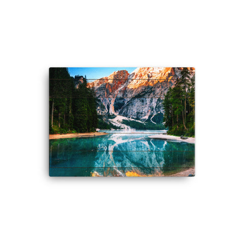 Faux Wood Misty Lake and Snow-cap Mountain Reflections Rural Landscape Canvas Wall Art Prints