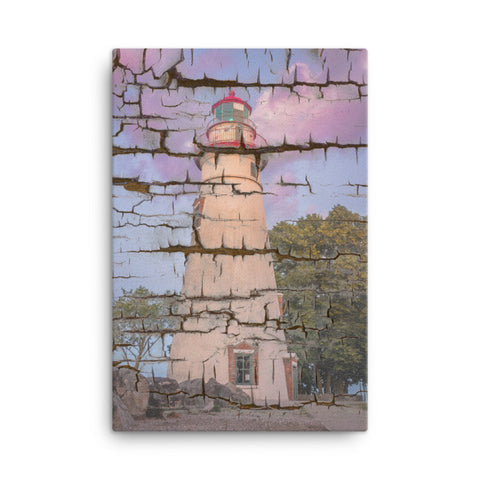 Faux Wood Texture Marblehead Lighthouse at Sunset Canvas Wall Art Prints