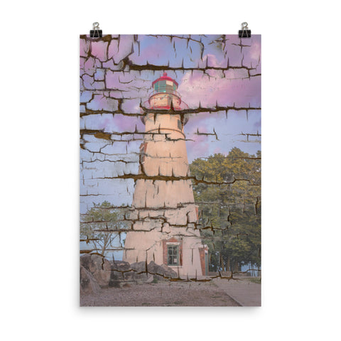 Faux Wood Texture Marblehead Lighthouse at Sunset Landscape Photo Loose Wall Art Print