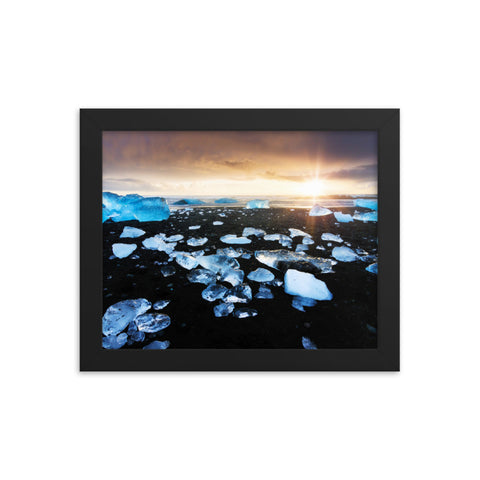 Fire and Ice Black Sand Sunset Coastal Landscape Framed Photo Paper Wall Art Prints