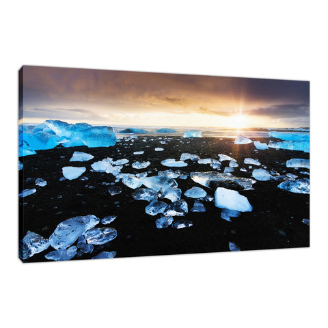 Fire and Ice Black Sand Sunset Coastal Landscape Fine Art Canvas Wall Art Prints