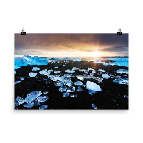 Fire and Ice Coastal Sunrise - Sunset Landscape Photo Loose Wall Art Prints