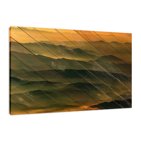 Faux Wood Foggy Mountain Layers at Sunset Rustic Landscape Fine Art Canvas Wall Art Prints
