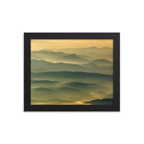 Foggy Mountain Layers at Sunset Landscape Framed Photo Paper Wall Art Prints