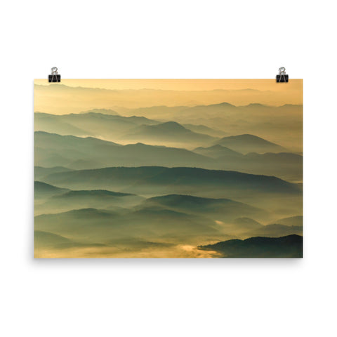 Foggy Mountain Layers at Sunset Landscape Photo Loose Wall Art Prints