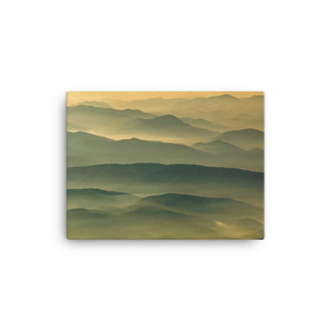 Foggy Mountain Layers at Sunset Rural Landscape Canvas Wall Art Prints