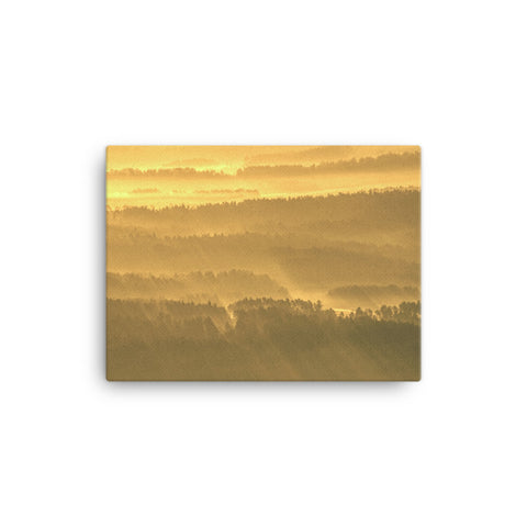 Golden Mist Valley - Hills & Mountain Range Rural Landscape Canvas Wall Art Prints