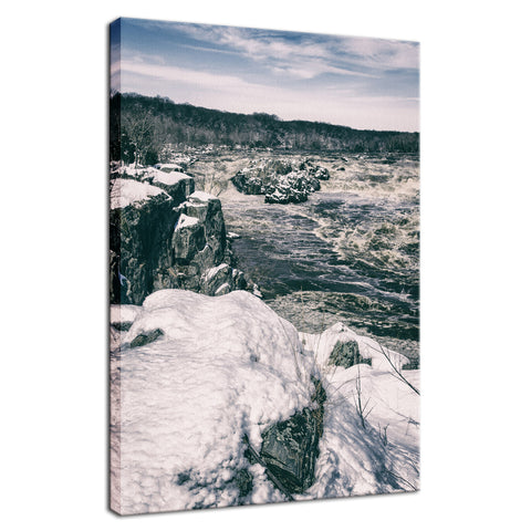 Great Falls Vintage Rural Landscape Photo Fine Art Canvas Wall Art Prints