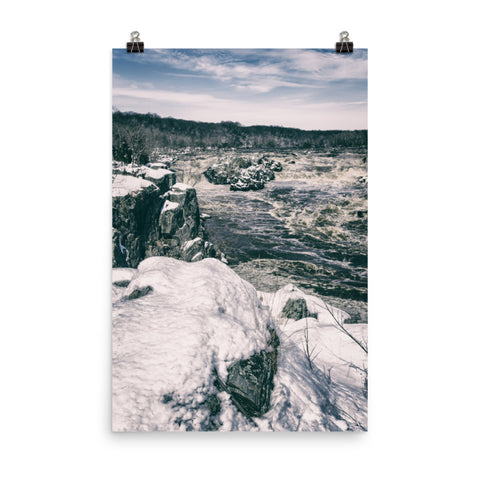 Great Falls Vintage Black and White Landscape Photo Loose Wall Art Print