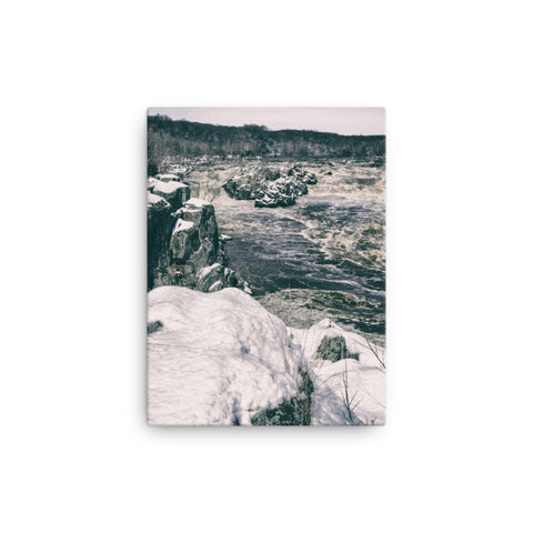 Great Falls Vintage Black and White Rural Landscape Canvas Wall Art Prints