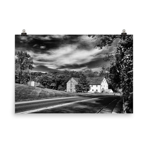 Greenbank Mill - Summer Black and White Landscape Photo Loose Wall Art Prints