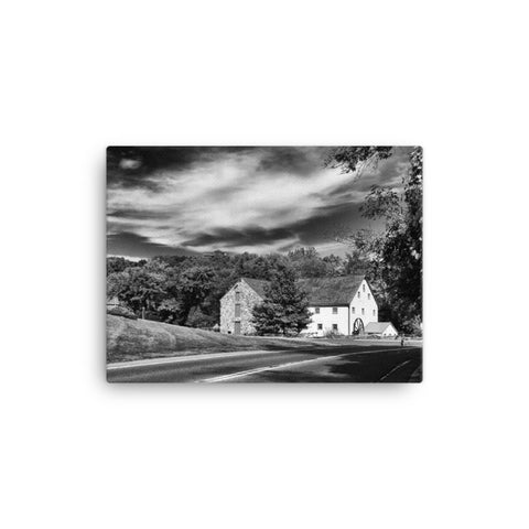 Greenbank Mill - Summer Black and White Rural Landscape Canvas Wall Art Prints