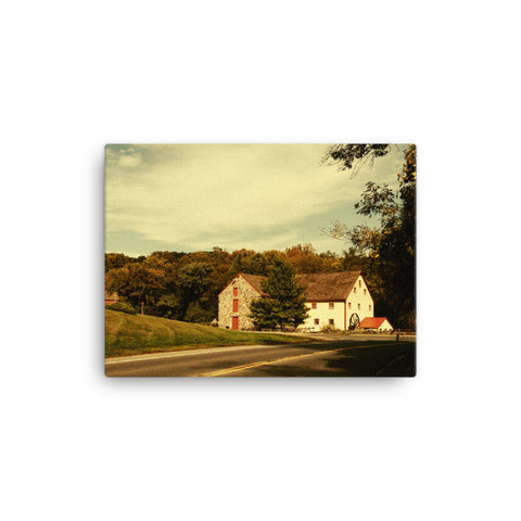 Greenbank Mill Summer Colorized Rural Landscape Canvas Wall Art Prints