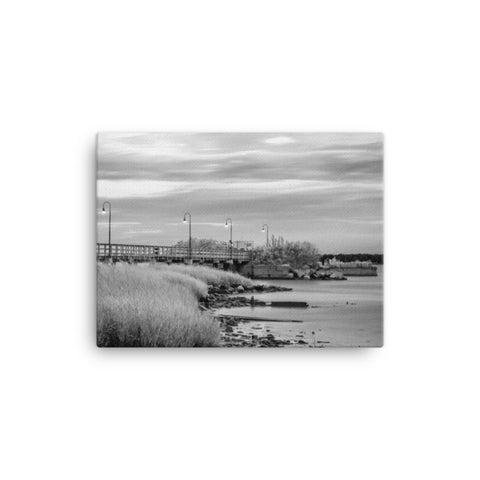 Historic New Castle 2 Black and White Coastal Landscape Canvas Wall Art Prints