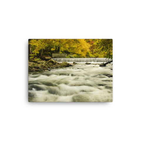 Waterfalls in the Autumn Foliage Rural Landscape Canvas Wall Art Prints