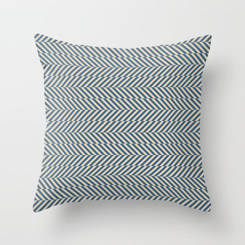 Hypnotic Blue and Beige Stripe Pattern Pairs to 2020 Color of the Year Chinese Porcelain Throw Pillow