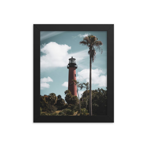 Jupiter Lighthouse Colorized Coastal Landscape Framed Photo Paper Wall Art Prints
