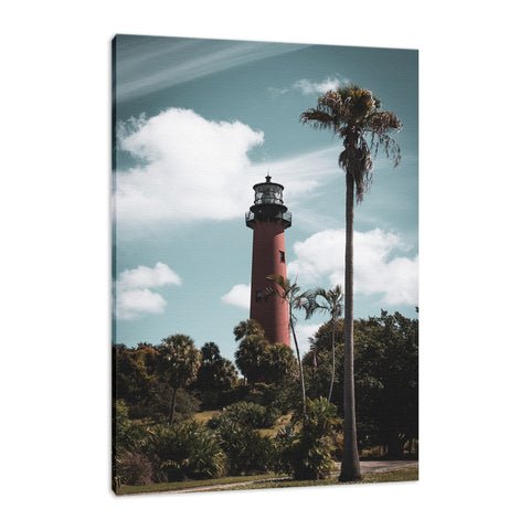 Jupiter Lighthouse Colorized Coastal Landscape Photo Fine Art Canvas Wall Art Prints