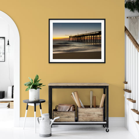 Landscape Photo - Motion of the Ocean, Silhouette Pier Against Sunrise Fine Art Canvas / Wall Art Unframed Prints for your living room, bedrooms, dining rooms family rooms and more.
