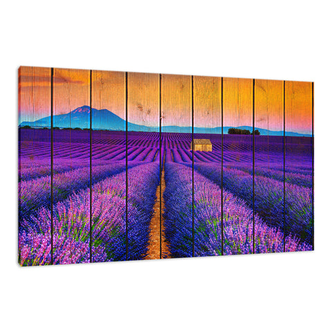 Faux Wood Lavender Fields and Sunset Landscape Fine Art Canvas Wall Art Prints