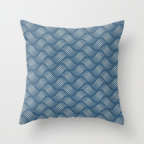 Linen Off White Wavy Tessellation Line Pattern on Blue - 2020 Color of the Year Chinese Porcelain Throw Pillow