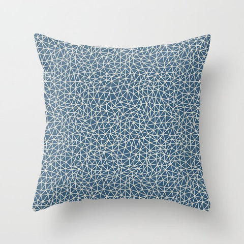 Linen White Abstract Triangle Shape Pattern on Blue - 2020 Color of the Year Chinese Porcelain Throw Pillow