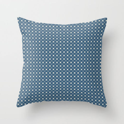 Linen White Angled Polka Dot Grid Line Pattern on Blue - 2020 Color of the Year Chinese Porcelain Throw Pillow