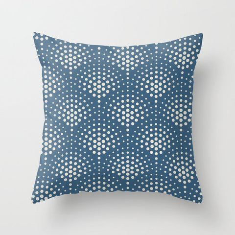 Linen White Polka Dot Scallop Pattern on Blue Pairs To 2020 Color of the Year Chinese Porcelain Throw Pillow