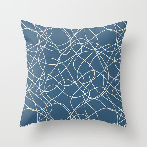 Linen White Scribbled Hand Drawn Mosaic on Blue Inspired By 2020 Color of the Year Chinese Porcelain Throw Pillow