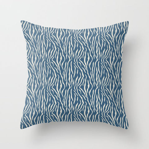 Linen White Tiger Stripes Pattern on Blue Pairs To 2020 Color of the Year Chinese Porcelain Throw Pillow