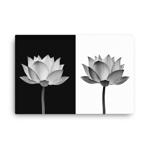 Lotus Flower on Black and White Background Floral Nature Photo Classic Canvas Wall Art Print - Wall Decor