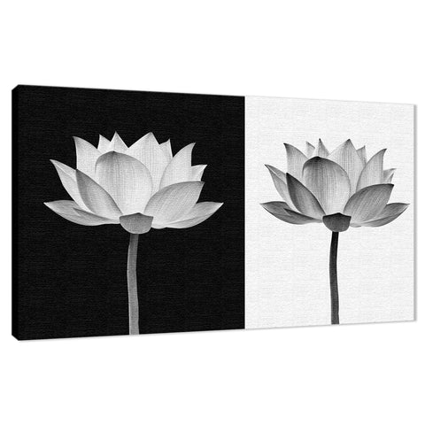 Lotus Flower on Black and White Background Floral Nature Photo Fine Art Canvas Wall Art Print