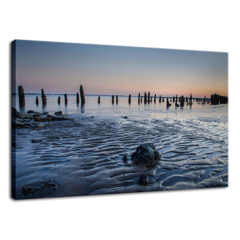 Low Tide At Battery Coastal Landscape Photo Fine Art Canvas Wall Art Prints