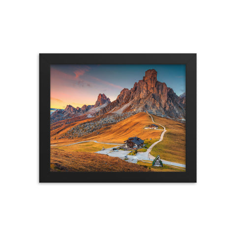 Majestic Sunset and Alpine Mountain Pass Framed Photo Paper Wall Art Prints