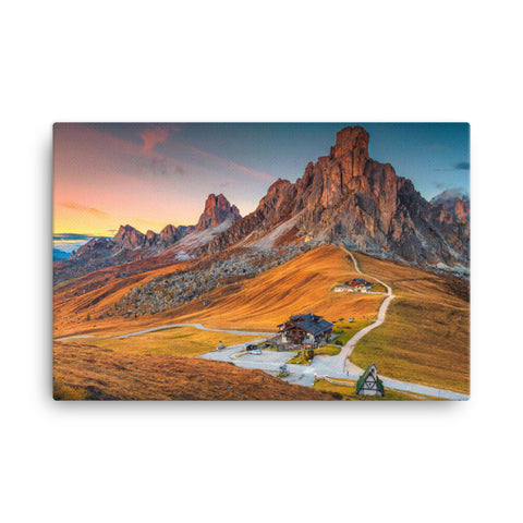 Majestic Sunset and Alpine Mountain Pass Rural Landscape Canvas Wall Art Prints