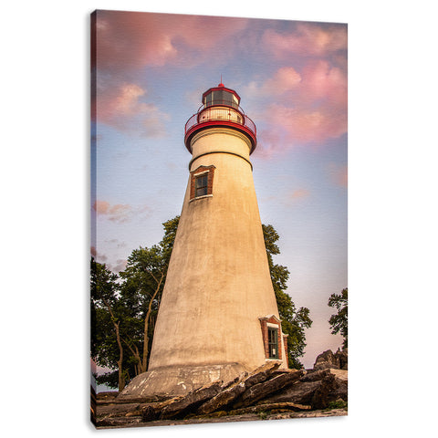 Marblehead Lighthouse at Sunset From the Shore Fine Art Canvas Wall Art Prints
